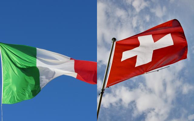 Collage Flaggen Italien, Schweiz